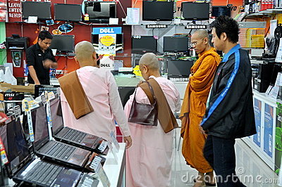 Bangkok, Thailand: Monks at Computer Store Editorial Image