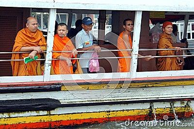 Bangkok, Thailand: Monks on River Boat Editorial Photo
