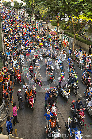 Free BANGKOK, THAILAND - Motorcycle Traffic Jam In City Centre During Celebrate Football Fans Winning AFF Suzuki Cup 2014 Royalty Free Stock Photos - 48476148