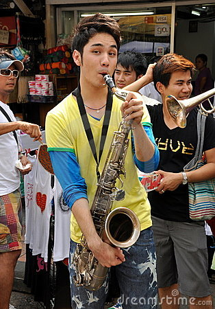 Bangkok, Thailand: Musician on Khao San Road Editorial Stock Photo