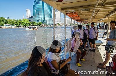 Bangkok, Thailand : passenger in boat Editorial Stock Photo