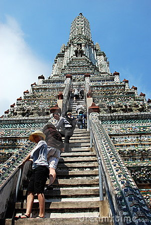 Bangkok, Thailand: People Climbing Wat Arun Prang Editorial Stock Photo