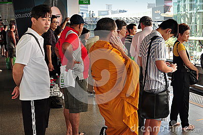 Bangkok, Thailand: People Waiting for Skytrain Editorial Image