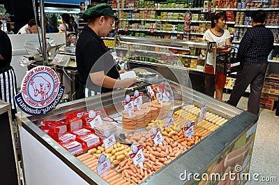 Bangkok, Thailand: Pork Products at Supermarket Editorial Stock Image
