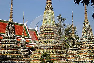 Bangkok, Thailand: Prangs at Wat Pho