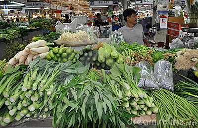 Bangkok, Thailand: Produce at Market Hall Editorial Photography