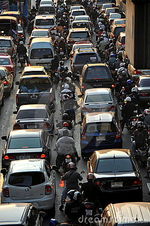 Bangkok, Thailand: Rush Hour Traffic Editorial Stock Image