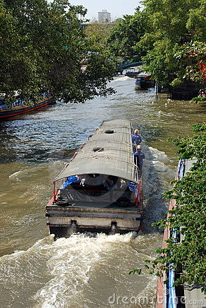 Bangkok, Thailand: Saen Saep Canal Boats Editorial Stock Photo