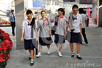 Bangkok, Thailand: School Girls in Uniforms Editorial Photo