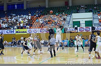 BANGKOK,THAILAND - 21 SEPTEMBER : both team player are jumping t