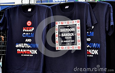 Bangkok, Thailand: Shut Down Bangkok Tee-Shirts Editorial Stock Photo