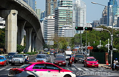 Bangkok, Thailand: Silom Road Traffic Editorial Photo