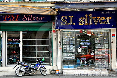 Bangkok, Thailand: Silver Shops near Khao San Rd Editorial Stock Photo