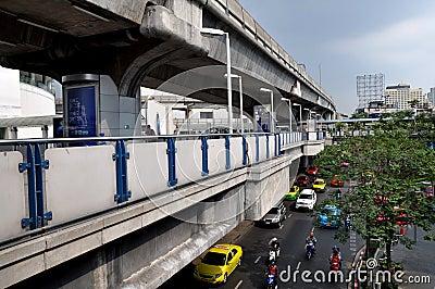 Bangkok, Thailand: Skytrain Elevated Platforms Editorial Stock Image