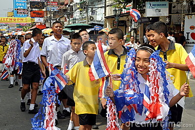 Bangkok, Thailand: Student Parade on Khao San Rd Editorial Photography