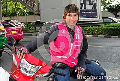 Bangkok, Thailand: Taxi Motorcycle Driver Editorial Stock Image
