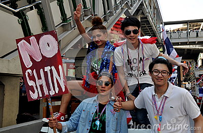Bangkok, Thailand: Thai Youths Demonstrating Editorial Stock Photo