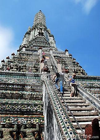 Bangkok, Thailand: Tourists Climbing Wat Arun Editorial Image