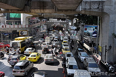 Bangkok, Thailand: Traffic Jam on Sukhamvit Road Editorial Stock Image