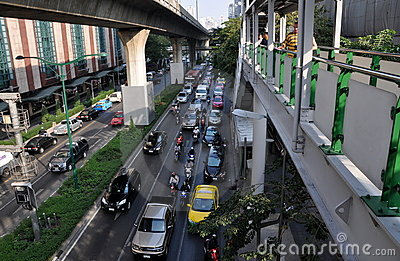 Bangkok, Thailand: Traffic on Sukhamvit Road Editorial Stock Photo