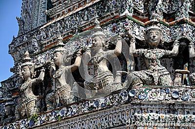 Bangkok, Thailand: Wat Arun Kinnaree Figures