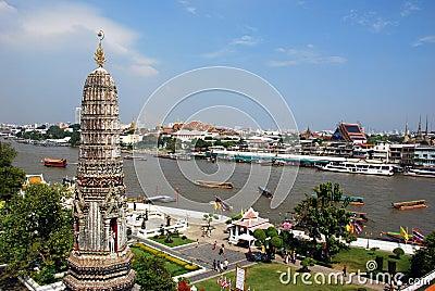 Bangkok, Thailand: Wat Arun River View Editorial Photography