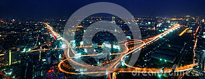 Bangkok traffic at nigh Editorial Photography