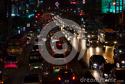 Bangkok traffic at night Editorial Photo
