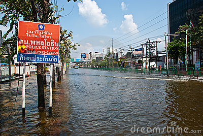 Bangkok worst flood in 2011 Editorial Image