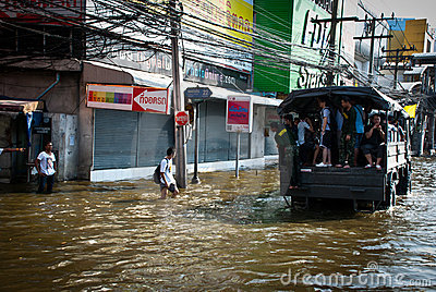 Bangkok worst flood in 2011 Editorial Stock Photo
