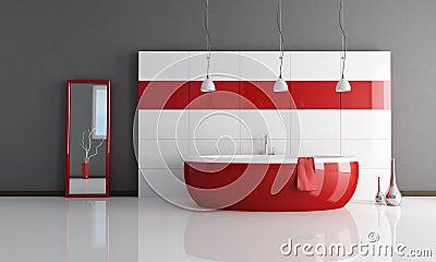 Banheiro vermelho e branco da forma