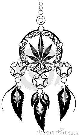 Banishes Thoughts With Marijuana Leaf Stock Vector Image