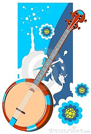 Banjo on a grunge background