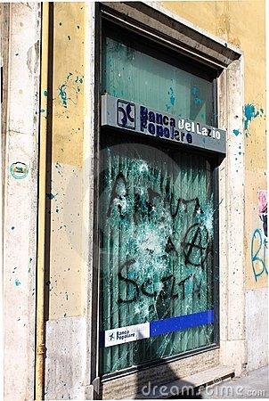 Bank agency devastation in Rome Editorial Image