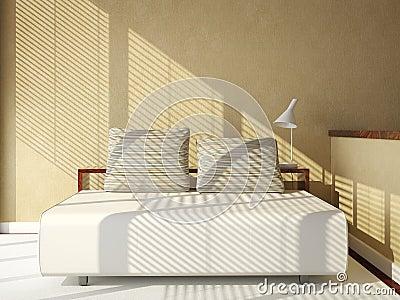Bank bed op tan muur stock foto 39 s beeld 8843693 for Bed in muur