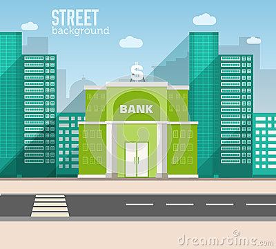 Free Bank Building In City Space With Road On Flat Stock Photos - 47608693