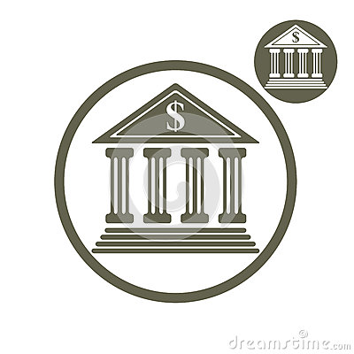 Free Bank Building Vector Simple Single Color Icon Isolated On White Stock Photography - 52769922