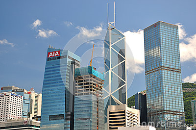 Bank buildings in business center of Hongkong Editorial Photography