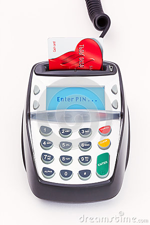 Bank Card in Chip and Pin Machine Editorial Stock Image