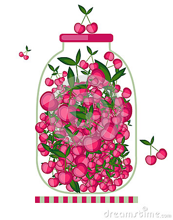 Bank with cherry jam for your design
