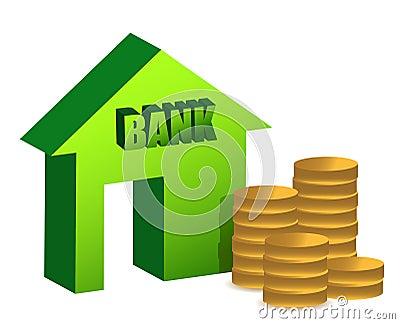 Bank and coins illustration design
