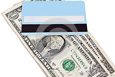 Bank credit card and dollars