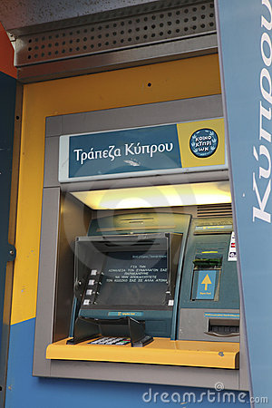 Bank of Cyprus teller machine Editorial Photo
