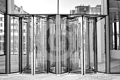Bank entry in black and white