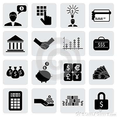Free Bank & Finance Icons(signs) Related To Money, Wealth Stock Photo - 32286910