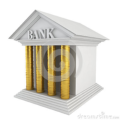 Bank model. Stack of coins instead of columns