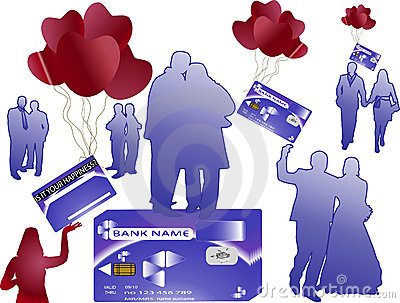 Bank money card with silhouettes