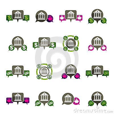 Bank and money theme vector unusual icons set, financial theme v