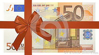 Bank note with red ribbon