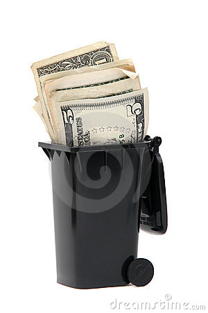 Bank notes in rubbish bin